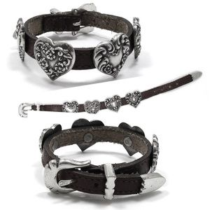 Brighton Leather Buckle Bracelet with hearts